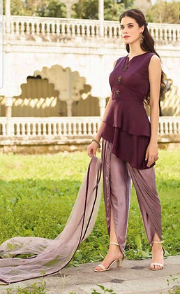 Purple Dhoti with Short top