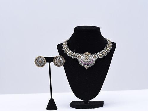 Oxidized Choker Necklace Set