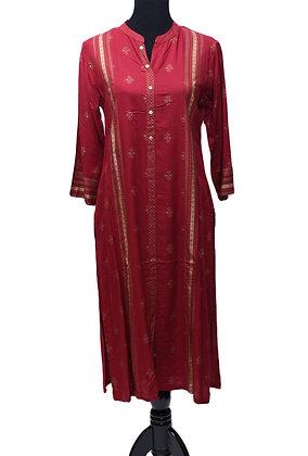 Red Straight Cotton Kurti