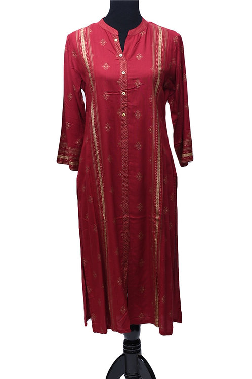 Red Straight Cotton Kurti