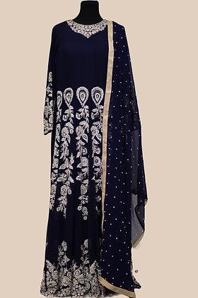 Navy Blue Silver Abaya Style Suit