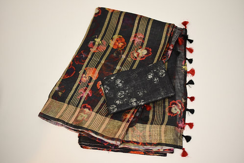 Black Linen Silk Saree
