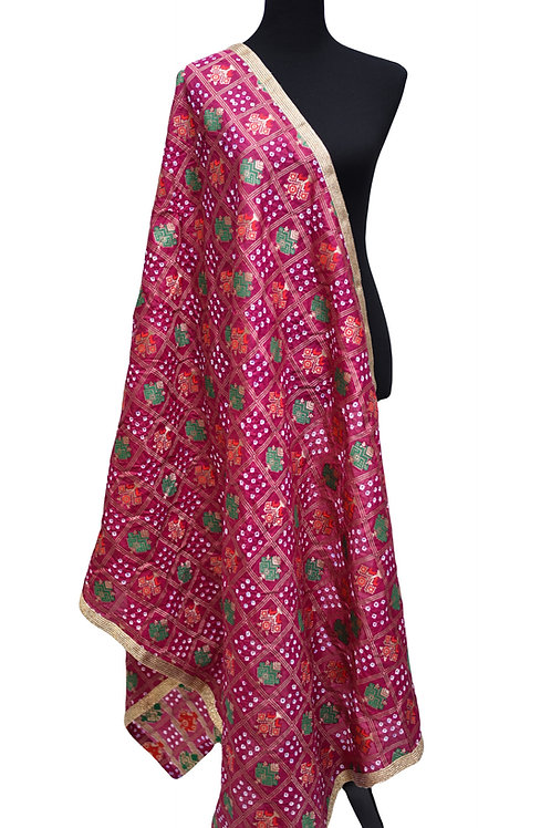 Purple Bandhani Silk Dupatta