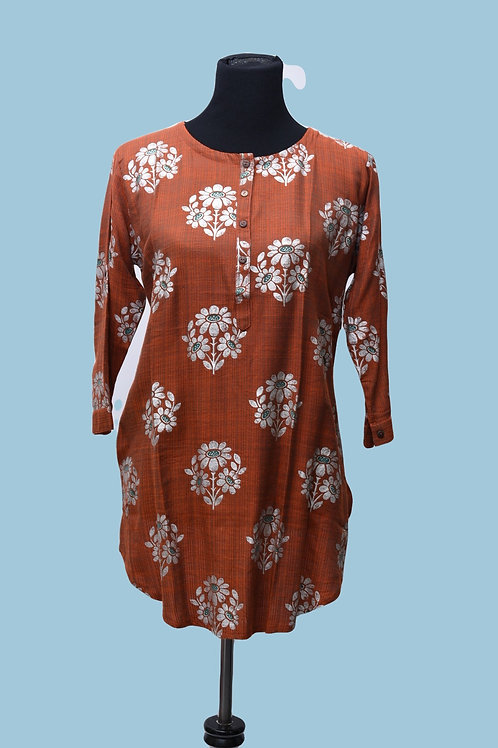 Brick Color Short Kurta