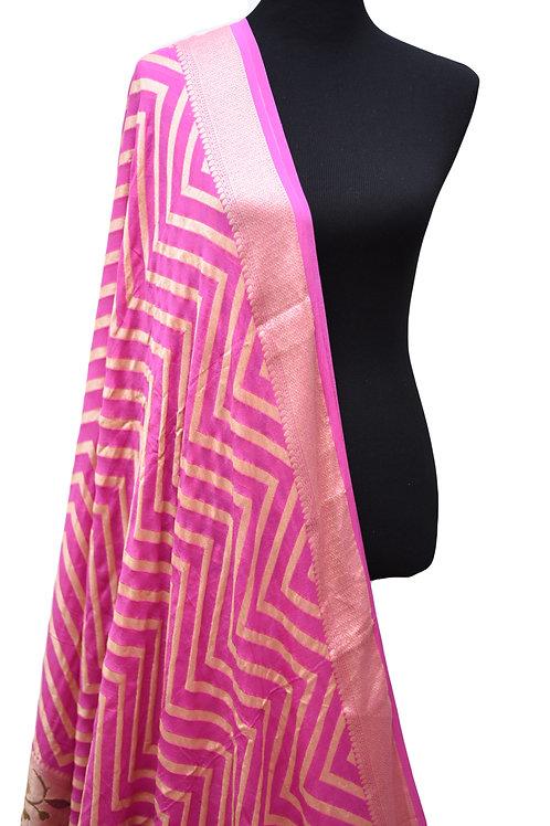 Banarasi handloom khadi georgette pink saree