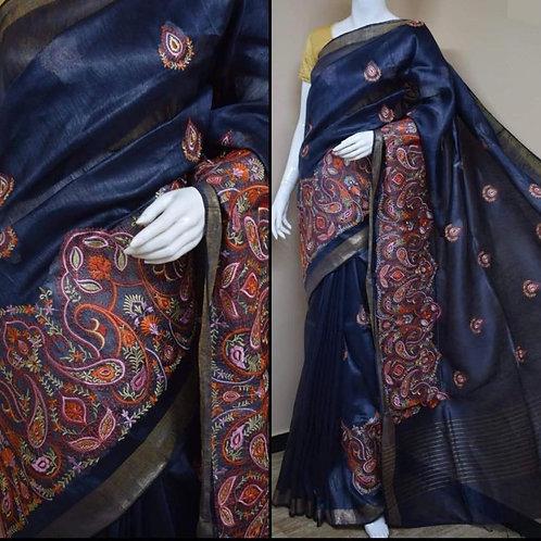 Blue Linen Silk Saree