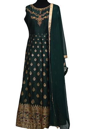 Green Silk Abaya Style Salwar Suit