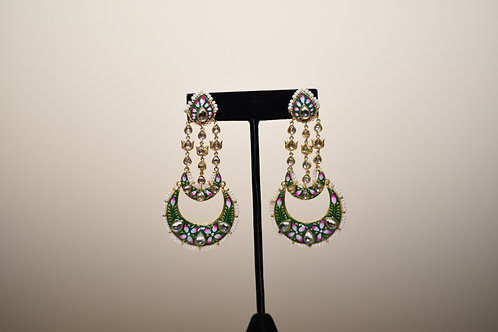 Chandelier Kundan Enamel Filled Earring