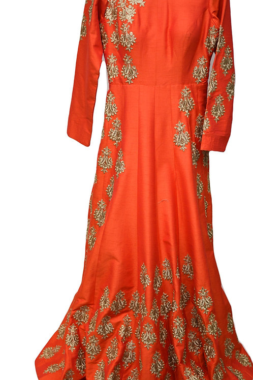 Coral Raw Silk Gown