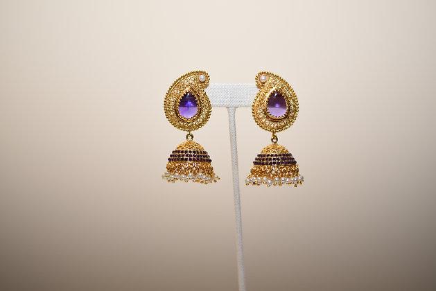 Purple  Jhumka Earring