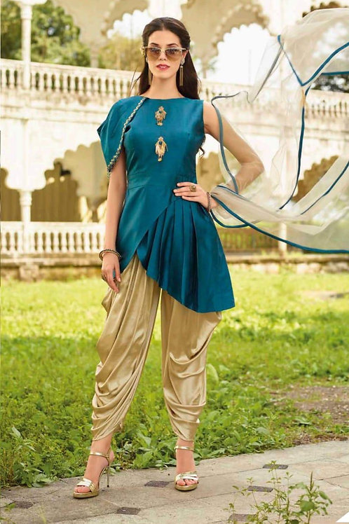 Beautiful Golden Dhoti with Blue Short Top