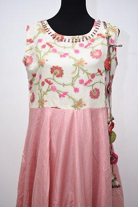 Pink Designer Flared Kurti