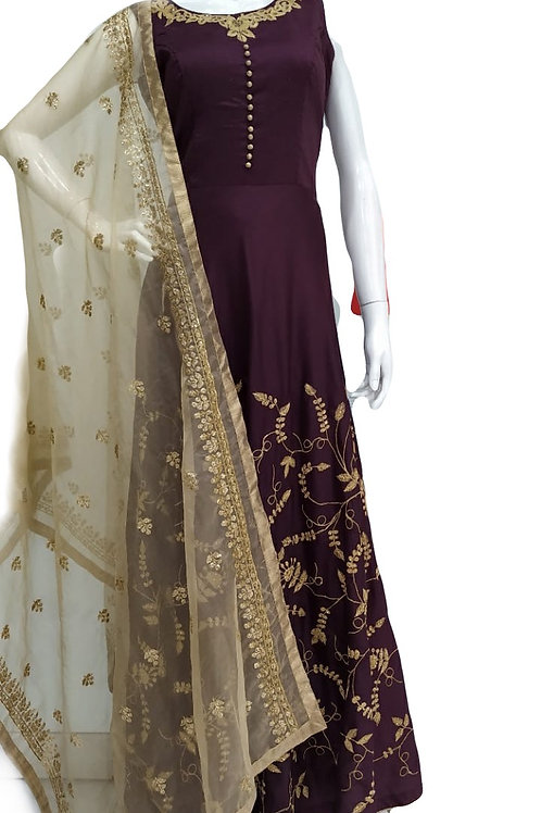 Purple Golden Salwar Suit