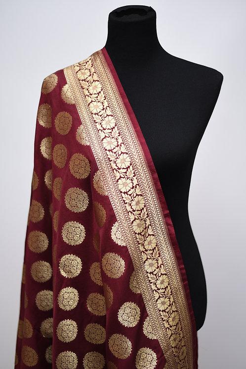 Maroon Banarsi Silk Dupatta