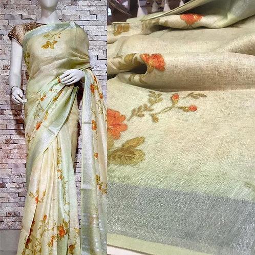 Digital Print Linen Silk Saree