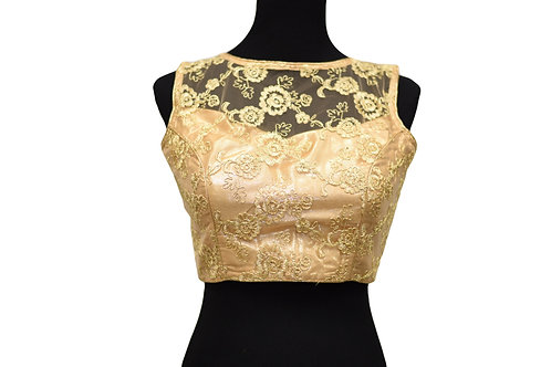 Golden Cut Sleeve Embroidery Blouse