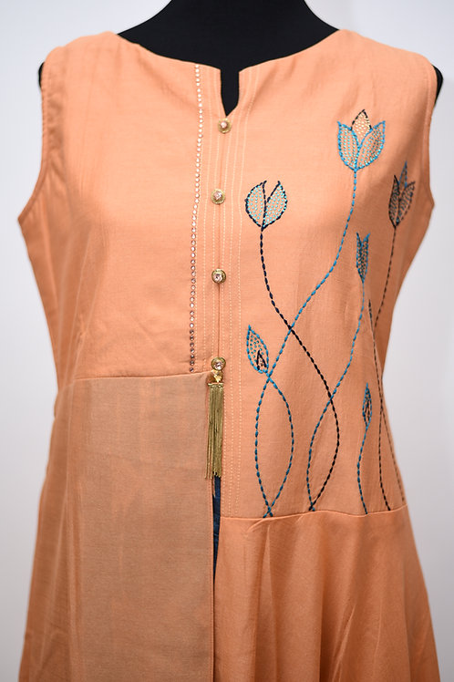 Orange Chinen Silk Flared Kurti