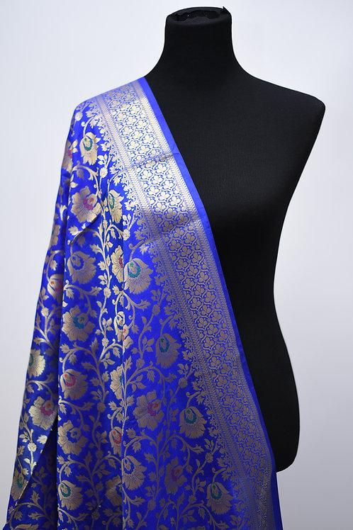 Katan Banarasi silk Blue Dupatta