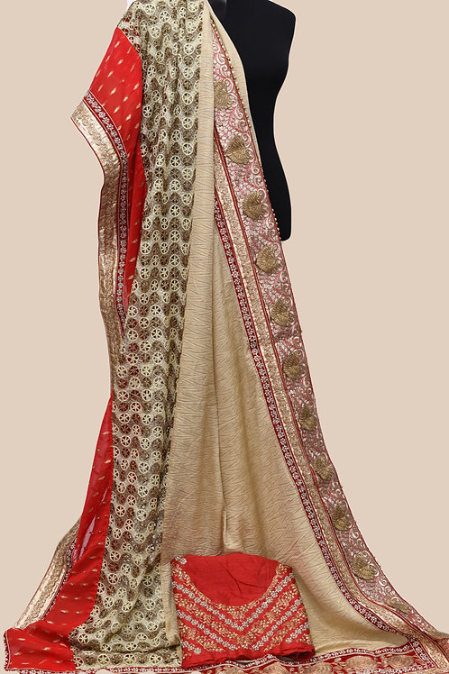 Designer Red Beige Saree