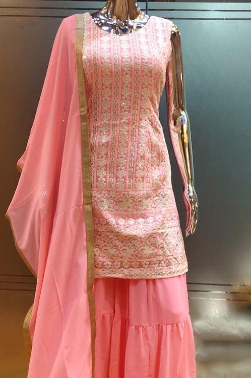 Pink Sharara Suit Set
