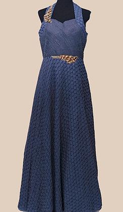 Blue Halter Neck Gown