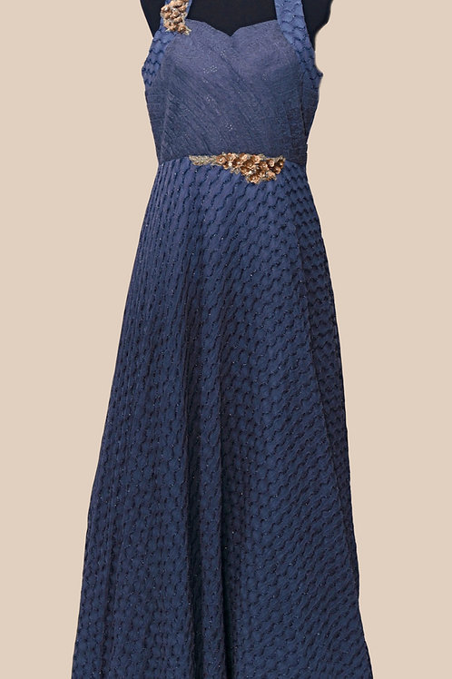 Blue Halter Neck Gown