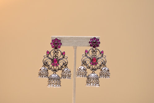 German Silver Pink Earring