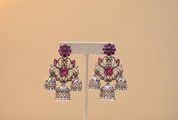 German Silver Pink Earring