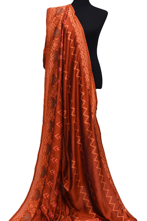 Burnt Orange Silk Saree