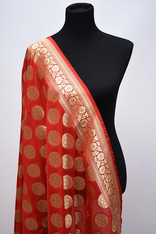 Red Banarsi Silk Dupatta