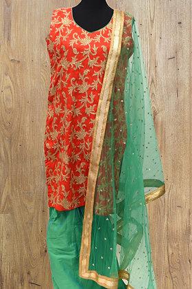Raw Silk Orange Green Patiala Suit