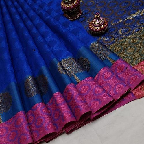 Blue Pink Kota Silk Saree