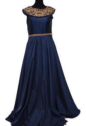 Blue Satin Art Silk Gown