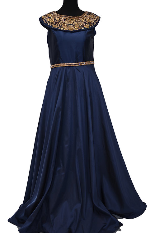 Blue Satin Art Silk Gown