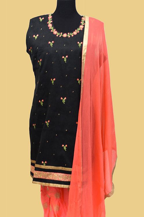 Black Orange Patiala Suit