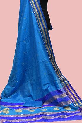 Narayani Paithani Blue Silk Saree