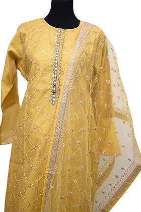 Yellow Plazzo Suit Set