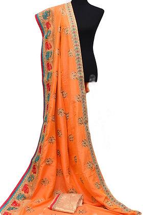 Orange Bhaglpuri Silk Saree
