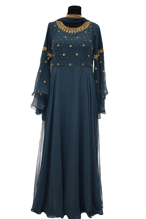 Bell Sleeves Prussian Blue Abaya Salwar Suit