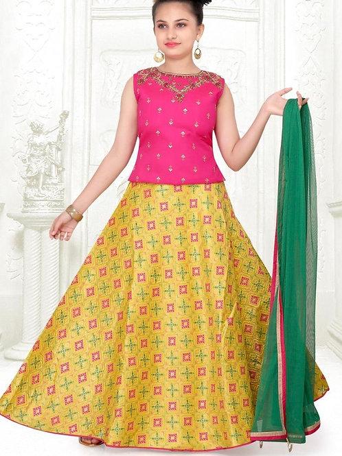 Pink Yellow Girls Lehanga Choli
