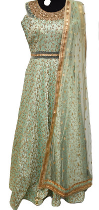 Mint Green Abaya Style Suit