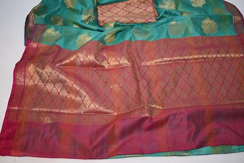 Green Pink Matka Silk Saree