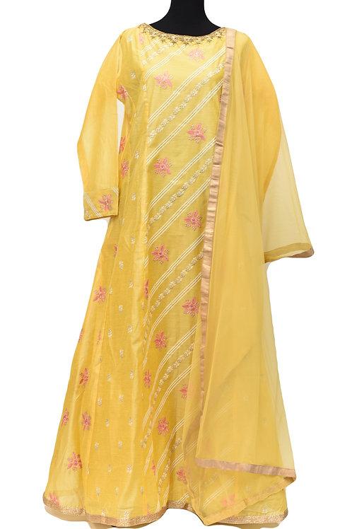 Yellow Abaya Style Suit