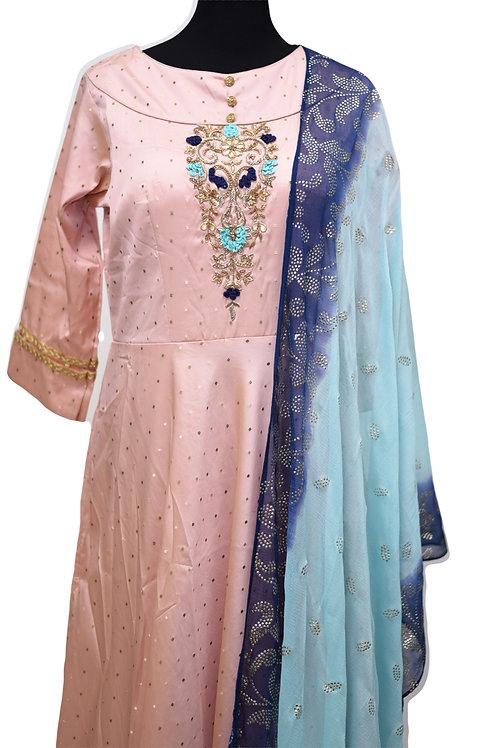 Beautiful Pink Abaya Salwar Suit
