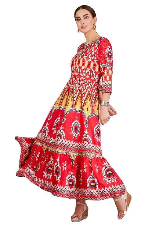 Red Satin Silk Kurti