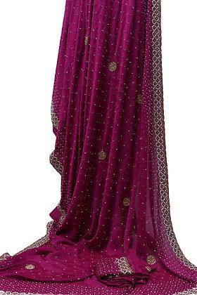 Purple Crepe SilkDesigner Saree