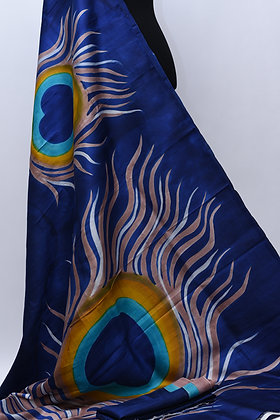 Hand paint Blue Silk Saree