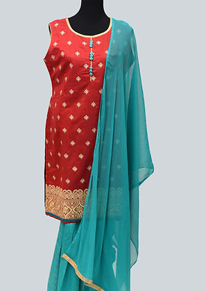 Red Rama Green Patiala suit