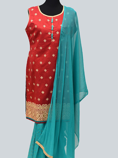 Red Rama Green Patiala suit