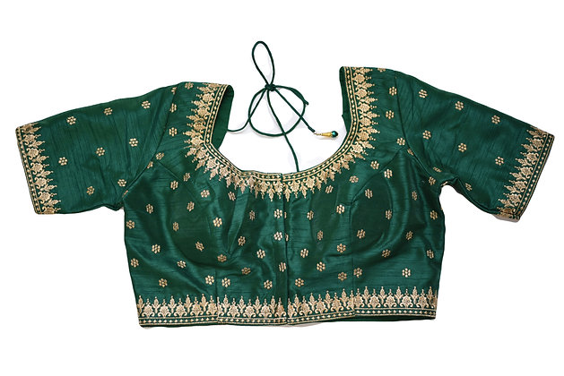 Green Silk Embroidery Blouse